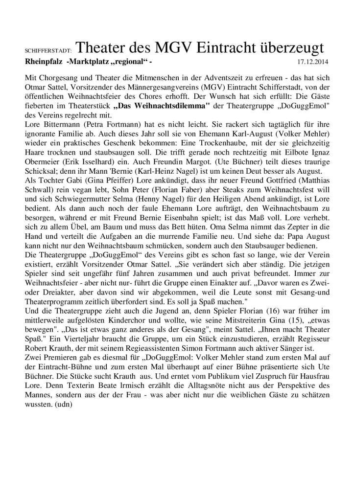 Weihnachtsfeier 2014 -Theaterstück-Pressebericht-001
